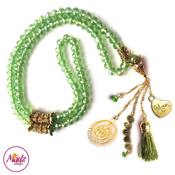 Madz Fashionz UK: 99 Beads Personalised Tasbeeh with Apple Green Crystals in Gold Finish