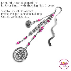 Madz Fashionz UK: Personalised Quran Bookmarks Pins Gifts in Shocking Pink Crystals with Silver Finish