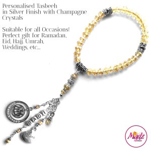 Madz Fashionz UK: 33 Beads Personalised Tasbeeh with Champagne Crystals in Silver Finish