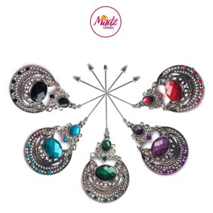 Madz Fashionz UK: Muqadaas Vintage Hijab Pin Hijab Jewels Stick Pins in Silver Finish