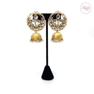 Madz Fashionz UK Padmavati Rajput Pearled Kundan Jhumkas White Earrings Pakistani Jewellery