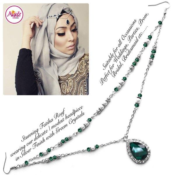 Madz Fashionz USA - Fatiha World Tear Drop Headpiece Silver and Green Crystals