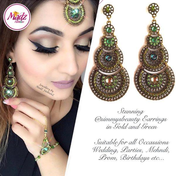 Madz Fashionz USA: @simmysbeauty Earrings Chandelier Chand Drop Green Stones