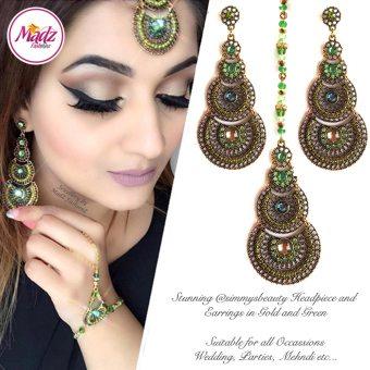 Madz Fashionz USA: simmysbeauty Maang Tikka & Earrings Set Green Stones