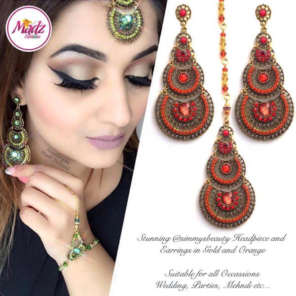 Madz Fashionz USA: simmysbeauty Maang Tikka & Earrings Set Orange Stones