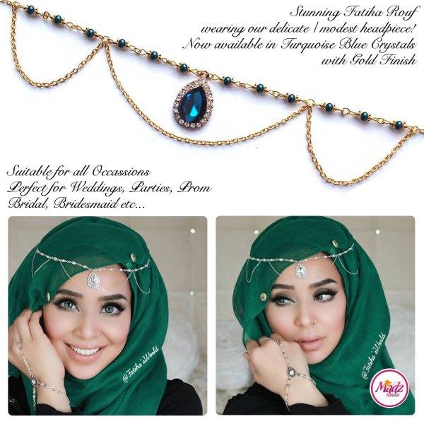 Madz Fashionz USA - Fatihasworld Tear Drop Matha Patti Headpiece Gold and Turquoise