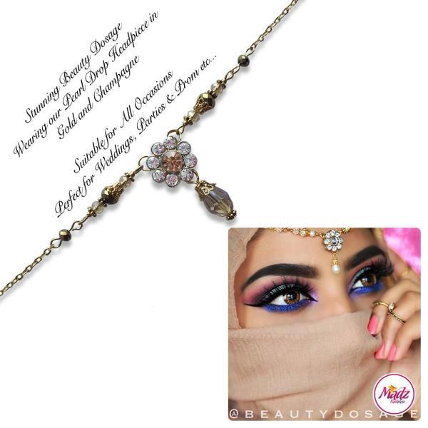 Madz Fashionz USA BeautyDosage Pearl Drop Headpiece Gold Finish Champagne