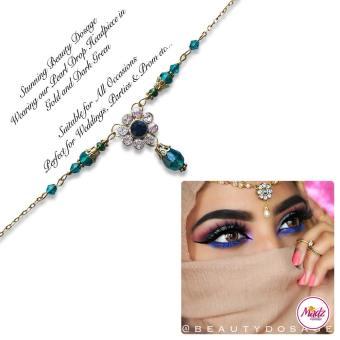 Madz Fashionz USA BeautyDosage Pearl Drop Headpiece Gold Finish Green
