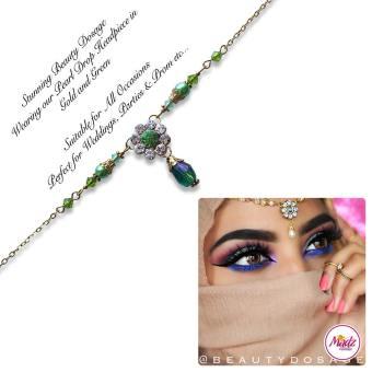 Madz Fashionz USA BeautyDosage Pearl Drop Headpiece Gold Finish Light Green