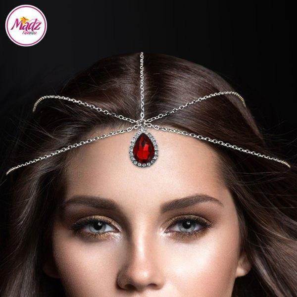 Madz Fashionz USA: Silver and Red Hair Jewellery Headpiece Matha Patti