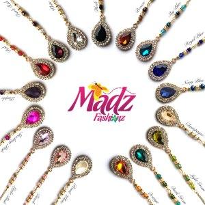 Madz Fashionz USA: Muskaan Crystal Maang Tikka Matha Patti Headpiece Gold hair tikka headgear indian asain tikka