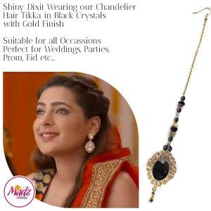 Madz Fashionz USA: Shiny Dixit Chandelier Maang Tikka Hair Tikka Zee Tv ZKM Gold Black