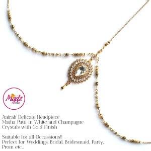 Madz Fashionz USA: Aairah Bespoke Matha Patti Headpiece Gold White Hair Tikka 1