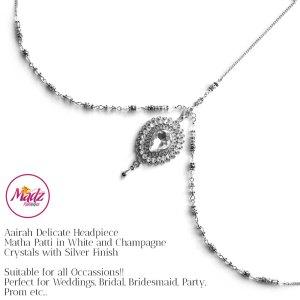 Madz Fashionz USA: Aairah Bespoke Matha Patti Headpiece Silver White Maang Tikka Head Gear 1
