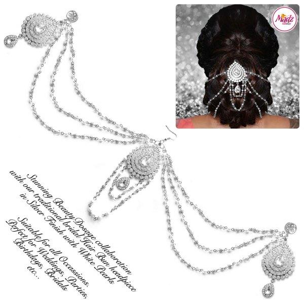 Madz Fashionz USA: Beautydosage Bridal Hair Bun Headpiece Jodha Silver 2