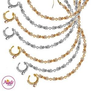 Madz Fashionz USA: Bridal Crystal Delicate Indian Nath Nose Ring Bullaku Nathu Gold