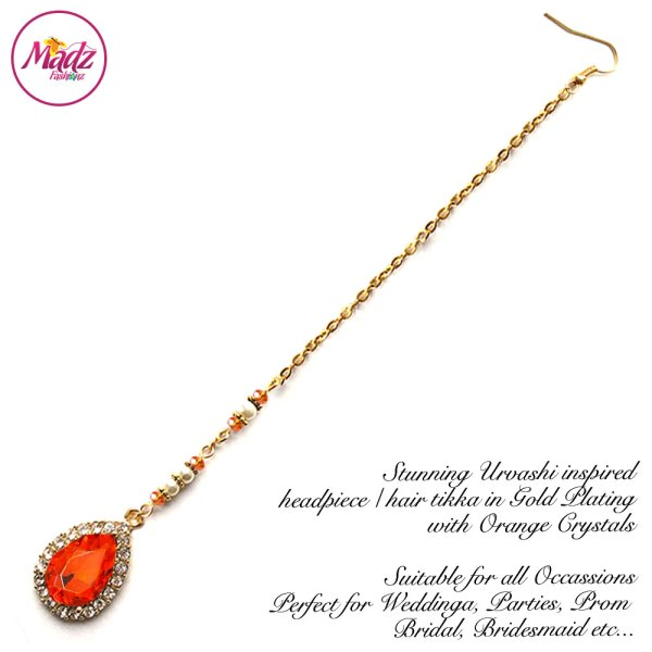 Madz Fashionz USA: Urvashi Rautela Kundan Crystal Stones Gold Maang Tikka Hair Tikka Gold Orange