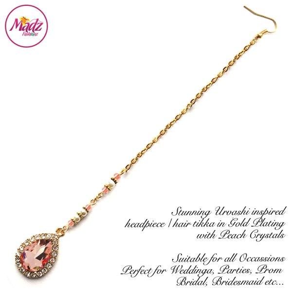 Madz Fashionz USA: Urvashi Rautela Kundan Crystal Stones Gold Maang Tikka Hair Tikka Gold Peach