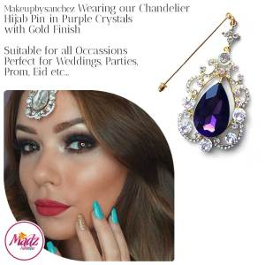 Madz Fashionz USA: Makeupbysanchez Chandelier Drop Hijab Pin Stick Pin Hijab Jewels Hijab Pins Gold Purple