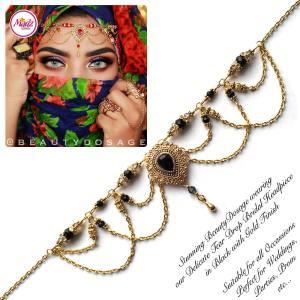 Madz Fashionz USA: Beautydosage Crystal Drop Titli Headpiece 3 Gold Black