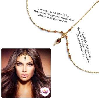 Madz Fashionz UK: Adeela Pearl Drop Gold Headpiece Matha Patti Tikka Antique Gold Orange