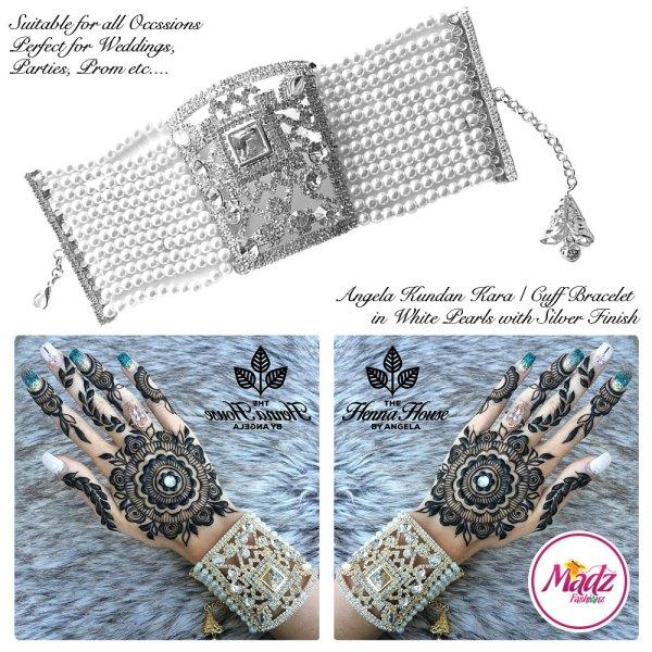 Madz Fashionz UK: Hennabyang Crystallised Cuff Bracelet Kara Silver White