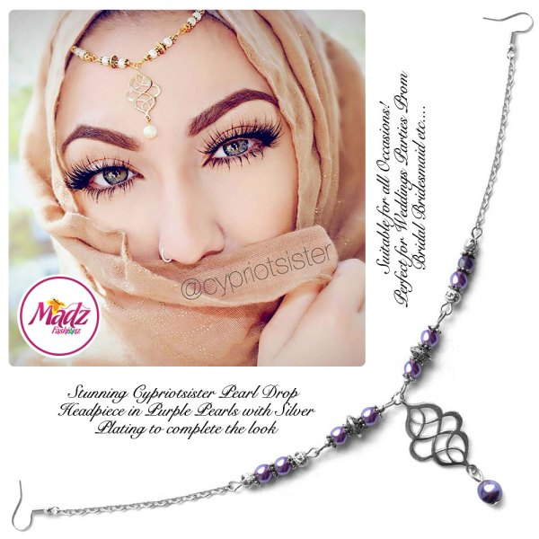 Madz Fashionz UK: Maryam Cypriotsister Pearl Drop Headpiece Silver Purple