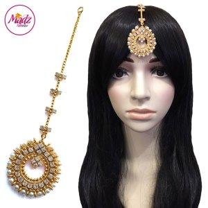 Madz Fashionz UK: Zohra Bridal Pearled Maang Tikka Gold White