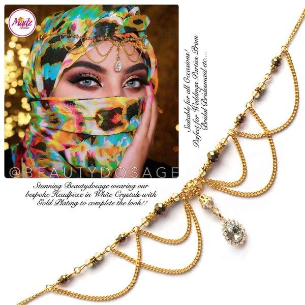 Madz Fashionz UK: Beautydosage Bespoke Crystal Drop Matha Patti Headpiece Gold and White