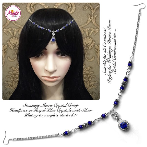 Madz Fashionz UK: Meera Crystal Matha Patti Headpiece Silver Royal Blue