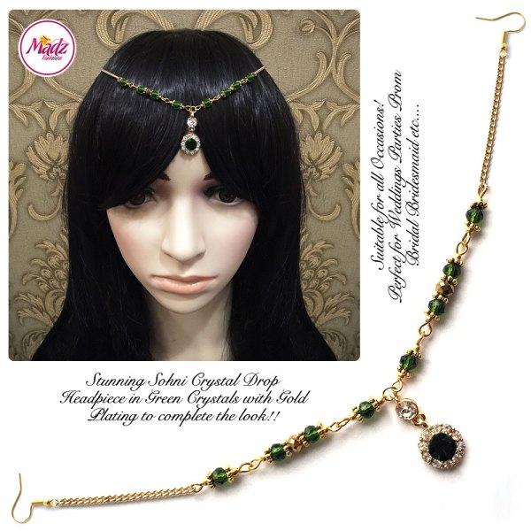 Madz Fashionz UK: Sohni Crystal Matha Patti Headpiece Gold Dark Green