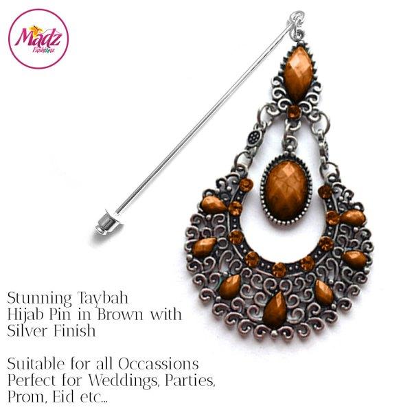 Madz Fashionz UK: Taybah Hijab Pin Hijab Jewels Stick Pins Silver Brown