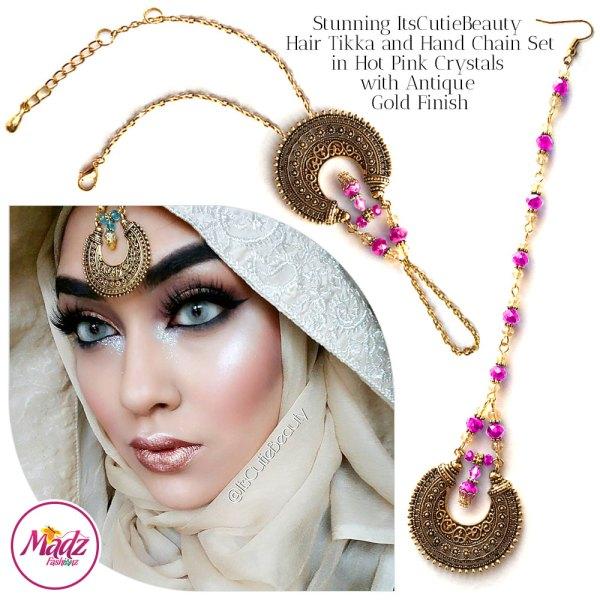 Madz Fashionz UK: ItsCutieBeauty Kundan Tikka Headpiece Handchain Chand Maang Tikka Antique Gold Shocking Pink Set