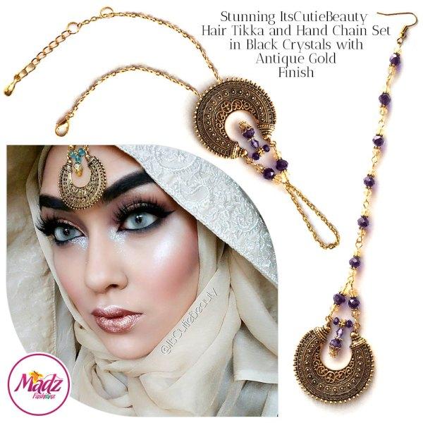 Madz Fashionz UK: ItsCutieBeauty Kundan Tikka Headpiece Handchain Chand Maang Tikka Antique Gold Purple Set