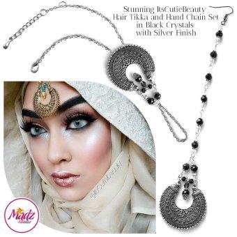 Madz Fashionz UK: ItsCutieBeauty Kundan Tikka Headpiece Handchain Chand Maang Tikka Silver Black Set