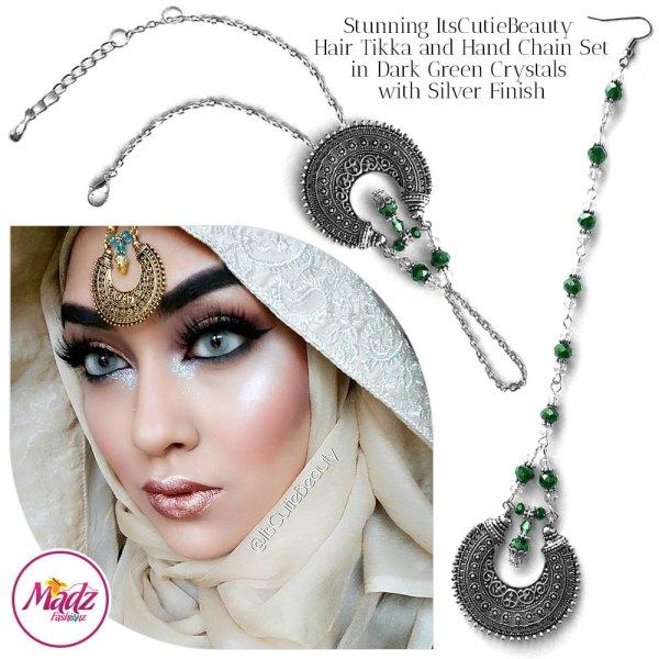 Madz Fashionz UK: ItsCutieBeauty Kundan Tikka Headpiece Handchain Chand Maang Tikka Silver Dark Green Set