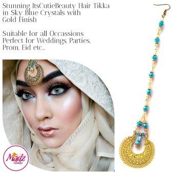Madz Fashionz UK: ItsCutieBeauty Kundan Tikka Headpiece Headchain Maang Tikka Gold Sky Blue