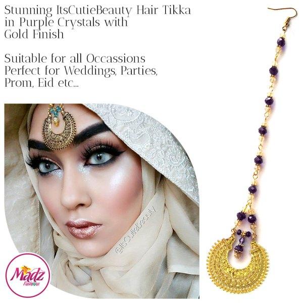 Madz Fashionz UK: ItsCutieBeauty Kundan Tikka Headpiece Headchain Maang Tikka Gold Purple