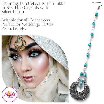 Madz Fashionz UK: ItsCutieBeauty Kundan Tikka Headpiece Headchain Maang Tikka Silver Sky Blue