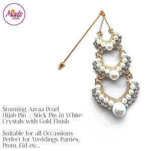 Madz Fashionz UK: Azraa Chandelier Drop Hijab Pin Hijab Jewels Stick Pins Gold White Pearl