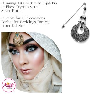 Madz Fashionz UK: ItsCutieBeauty Kundan Hijab Pin Stick Pin Hijab Jewels Hijab Pins Silver Black