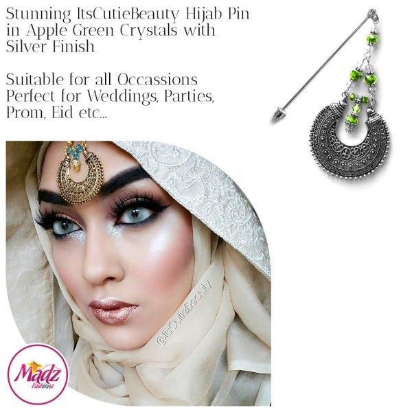 Madz Fashionz UK: ItsCutieBeauty Kundan Hijab Pin Stick Pin Hijab Jewels Hijab Pins Silver Apple Green