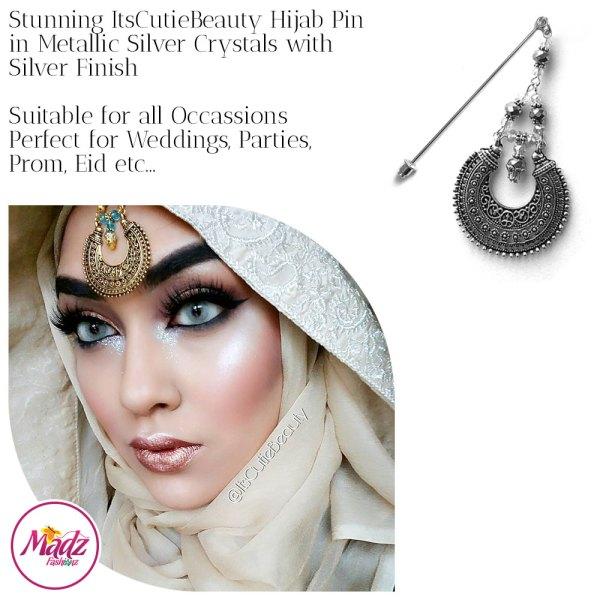 Madz Fashionz UK: ItsCutieBeauty Kundan Hijab Pin Stick Pin Hijab Jewels Hijab Pins Silver Metallic