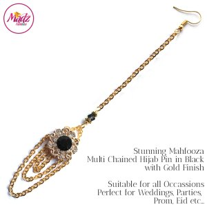 Madz Fashionz UK: Mehfooza Chandelier Maang Tikka Hair Tikka Gold Multi Chained Tassel Black