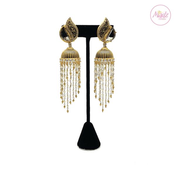 Madz Fashionz UK Kalaash Jhumkas Kundan Black Pearled Earrings Indian Jewellery Pakistani Jewellery
