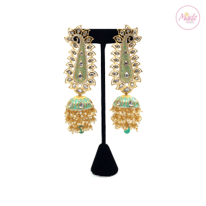Madz Fashionz UK Pakeeza Moor Pearled Jhumkas Earrings Sea Green