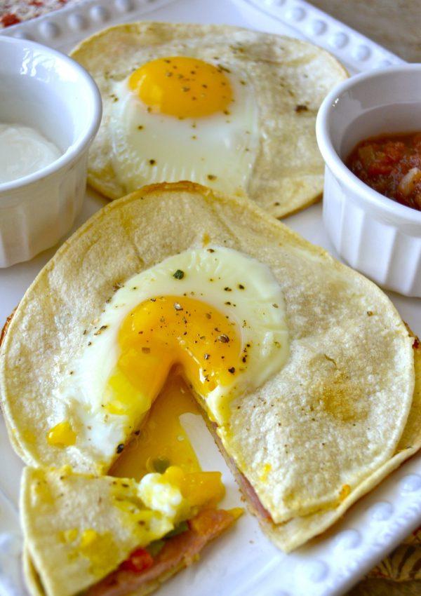 Baked Ham, Egg, and Red Pepper Stacks