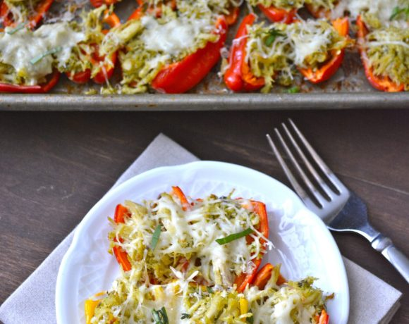 Chicken and Pesto Stuffed Sweet Peppers