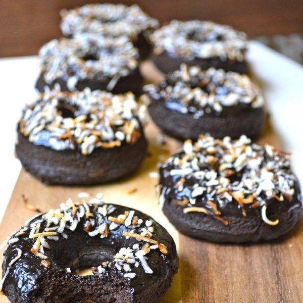 Dark Chocolate Coconut Mocha Donuts