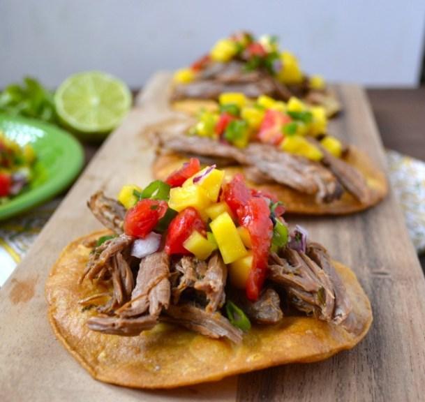 Slow Cooker Shredded Habanero Beef Tostadas with Mango Salsa www.maebells.com